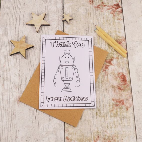 Robot Colouring in Thank You Card Children's Colour by MakeWithMum