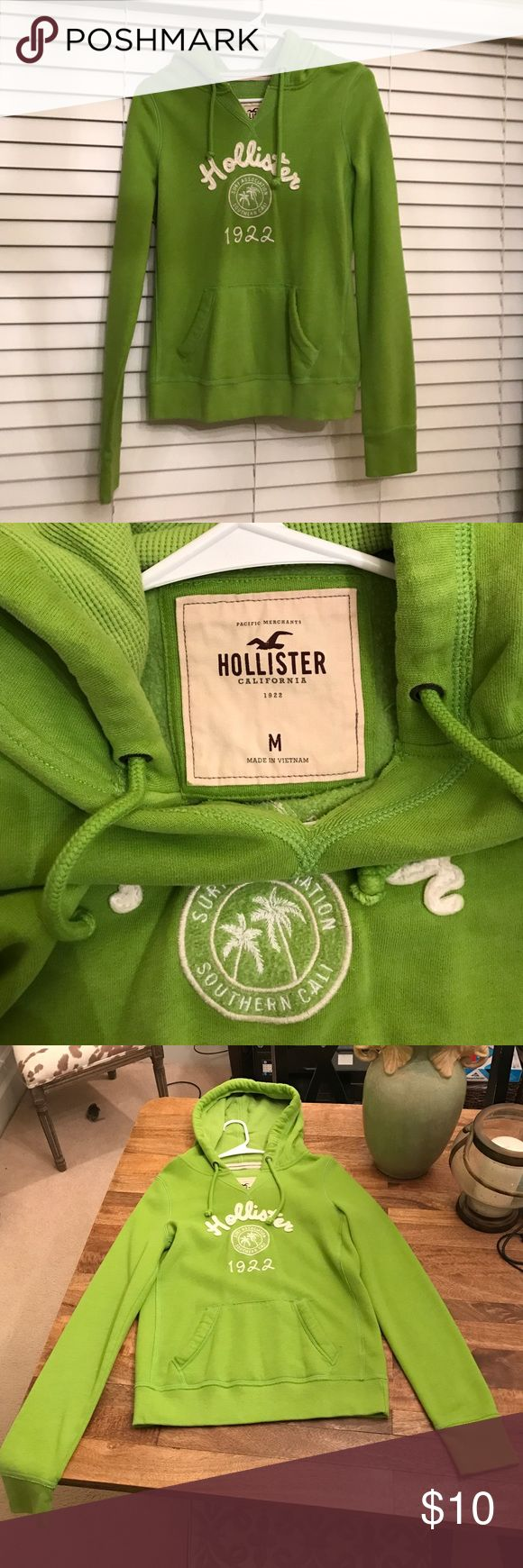 Green Hollister Sweatshirt Size Medium It has been worn few times; it feels and looks like new. Hollister Tops Sweatshirts & Hoodies