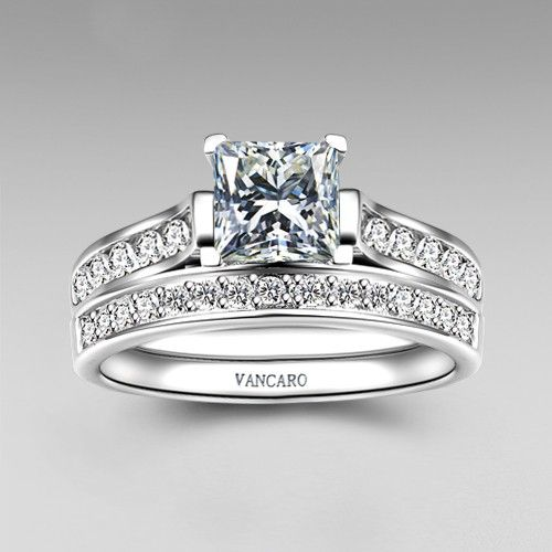 1.0 CT Brilliant Princess Cut 925 Sterling Silver Engagement / Wedding Ring Bridal Set