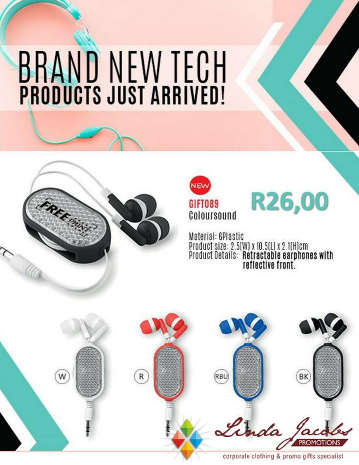 Brand New Tech - Just arrived!🎧 🎵ColourSound - Retractable earphones with  reflective front, available in white, red, blue and black - R26,00 🎵Min 100 units, Free 1 colour 1 position pad print 🎵Set-up fee of R300 applies 🎵Valid until the 13th of October or while stocks last For more info - See more products on our website - http://www.lindajacobspromotions.co.za/ Email: linda@lindajacobspromotions.co.za Call us - 083 6280181 | 021 5572152 #lindajacobspromotions #coloursound #earphones