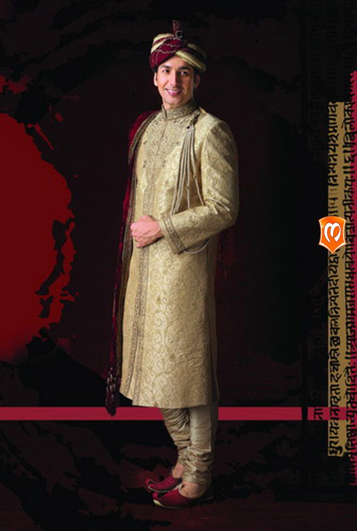The Manyavar Royal Silk Sherwani for Men :- This sherwani weaved on silk is a wear of glamour on your wedding day.Intricate with thread work in keri designs with stones and sequins studded in a linear patch.  #Manyavar #Sherwani #Wedding #Indian Wedding Wear #Manyavar Wedding Wear #Celebration Wear #Special Occasion #Indian Ethnic Wear