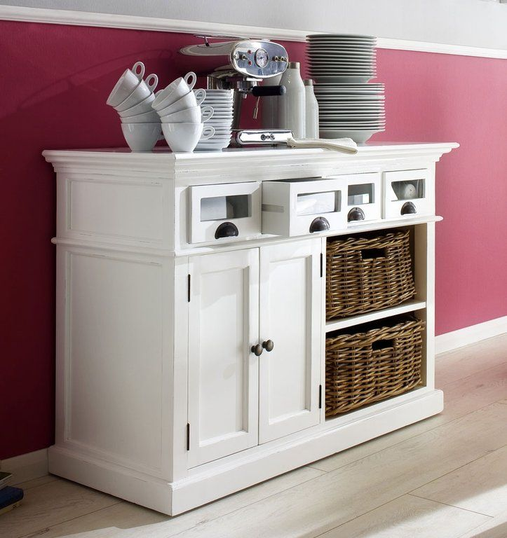Whitehaven Painted Buffet With Glass Front Drawers And 2 Rattan Baskets - Painted Furniture, Rustic Oak, Glass & Reclaimed Oak from Oak & As...