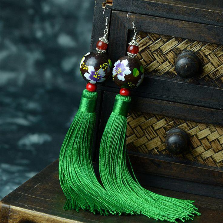 민족 스타일 귀걸이 태국 순수 수동 나무 구슬 붉은 마노 드롭 귀걸이 긴 술 귀걸이