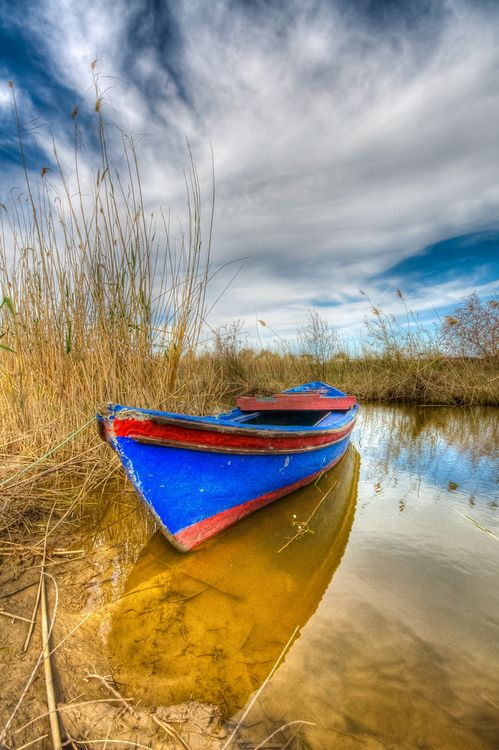Hidden beauty, boat, clouds, water, reflection, solitude, spectacular, photograph, photo