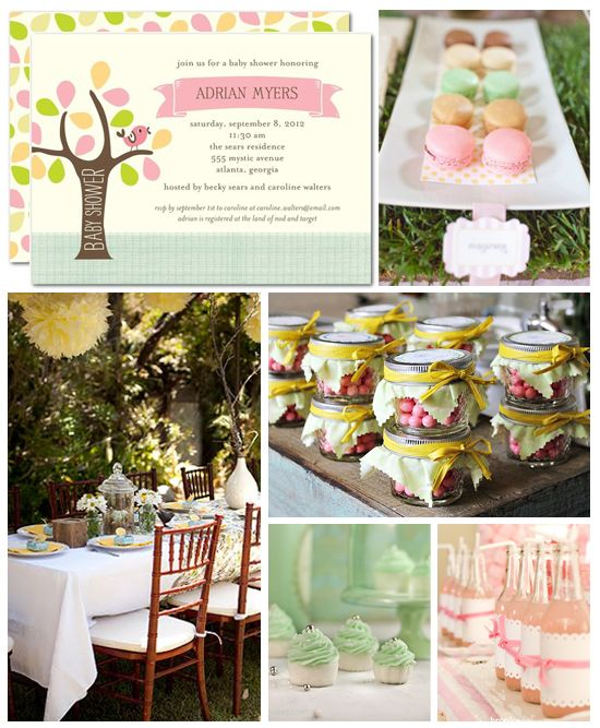 Like the colours   A Little Birdie Told Me BABY SHOWER IDEAS-Soft shades of mint, aqua and sage green are a fresh take for a girl baby shower.