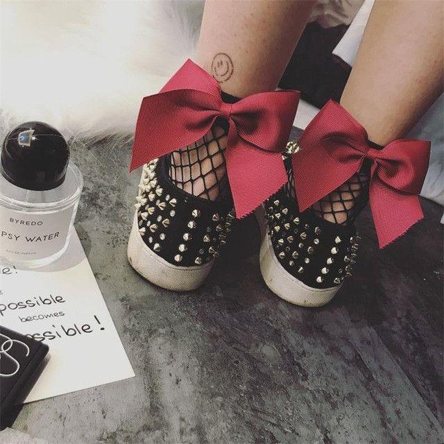 New 2017 Fashion Women Ruffle Large Fishnet Ankle High Socks Bow Tie Mesh Lace Fish Net Short Socks