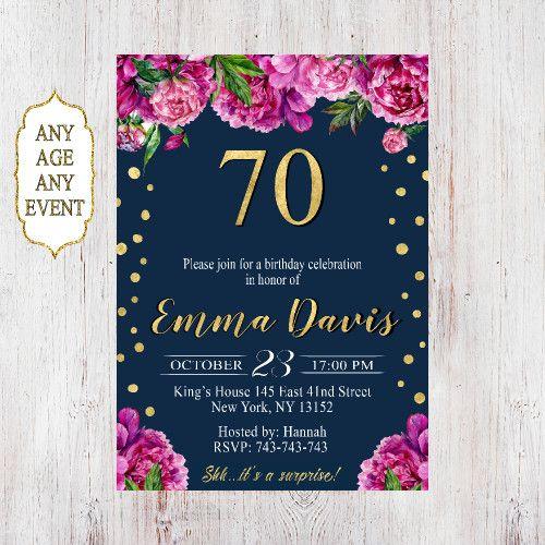 70th birthday invitations, 70th birthday invitations for women 073