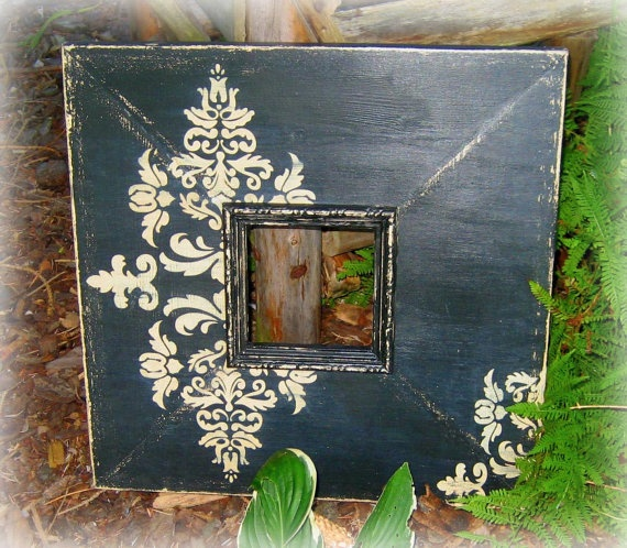 Shabby chic French damask photo frame  You could make this with scrapbook paper, distress, and mod podge