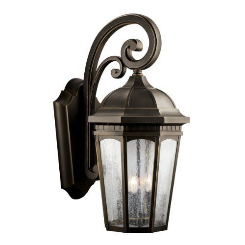 Kichler Lighting 9035RZ Courtyard 3-Light Incandescent Outdoor Wall Mount Lantern, Rubbed Bronze with Clear Seedy Glass by Kichler. $428.38. From the Manufacturer                The Kichler Lighting 9035RZ Courtyard 3-Light Incandescent Outdoor Wall Mount Lantern adds the warmth of a secluded terrace to any patio or porch. Whether you are looking for that perfect outdoor wall lantern for your outdoor living space, deck, or patio; this fixture creates a welcoming b...