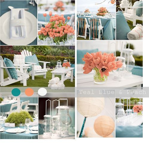 Teal Peach Wedding Colors images