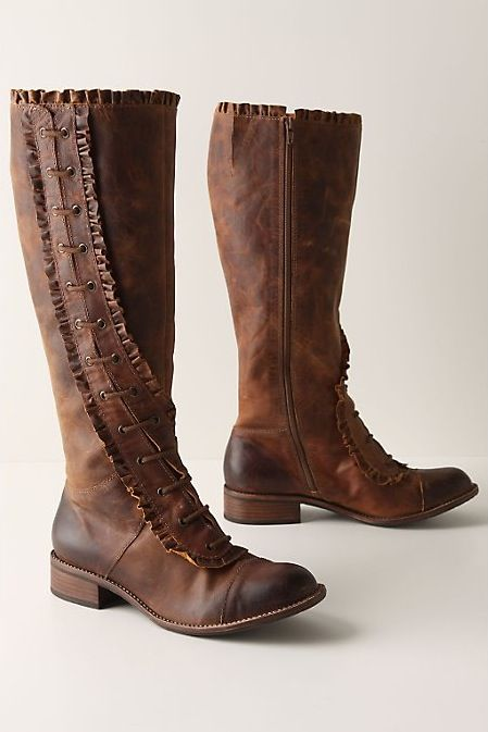 Winding Ruffle Boots by Anthropologie.