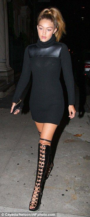 Bella Hadid flashes her bra as Gigi puts on a leggy display for NYFW night out | Daily Mail Online