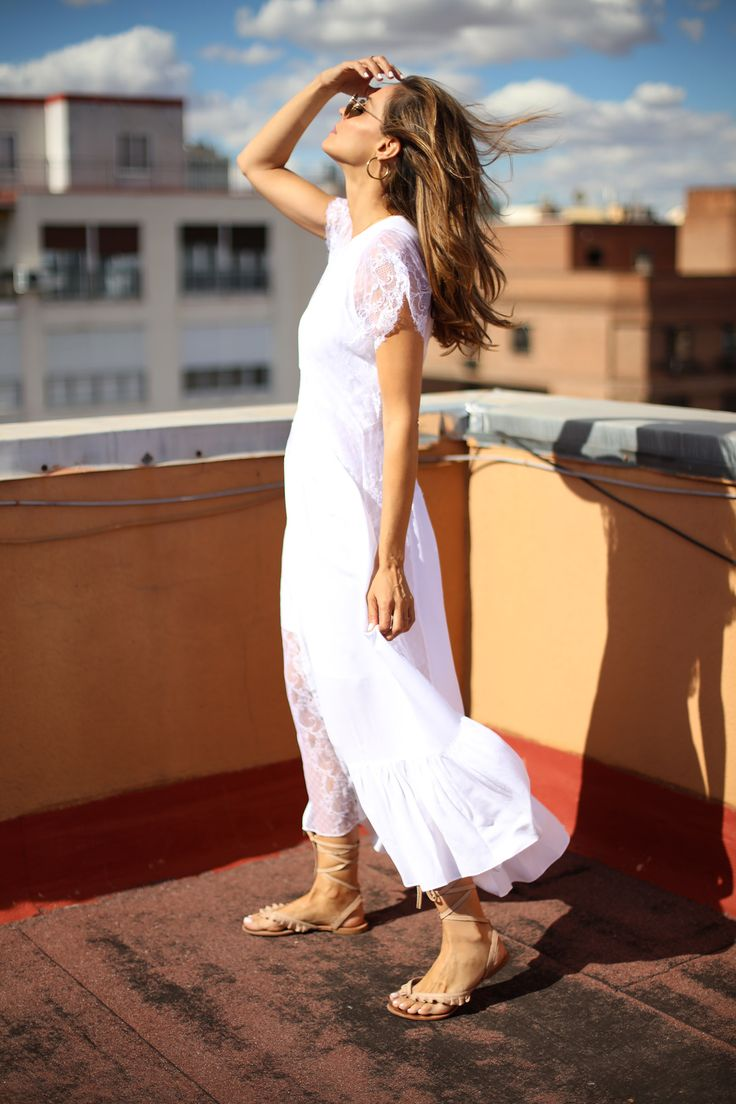 White Lace Dresses looks - Lady Addict. White laced midi dress+nude lace-up flat sandals+sunglassses+earrings. Summer Casual Outfit 2017