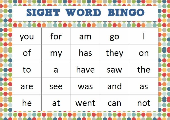 Sight Word Bingo Cards on Letter B Practice