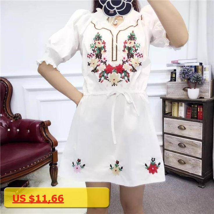 Vintage Ethnic Embroidery Reteo Women Elegant Dresses Casual Boho Hippie Summer Tunic Mini Dress 2017 Tops Vestido Free Shipping