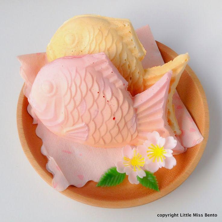 Sakura Taiyaki & Shiro Taiyaki Recipe 桜たいやき作り方のレシピ - Little Miss Bento