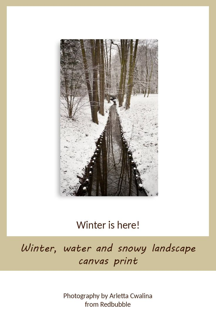 Canvas print of winter stream in snowy weather landscape in Poland. Nature Photography by Arletta Cwalina/ @redbubble. See more clothes and home decor ideas and if you love it, feel free to share, maybe your friends would like to have it too :) #homedecor #canvasprint #winter