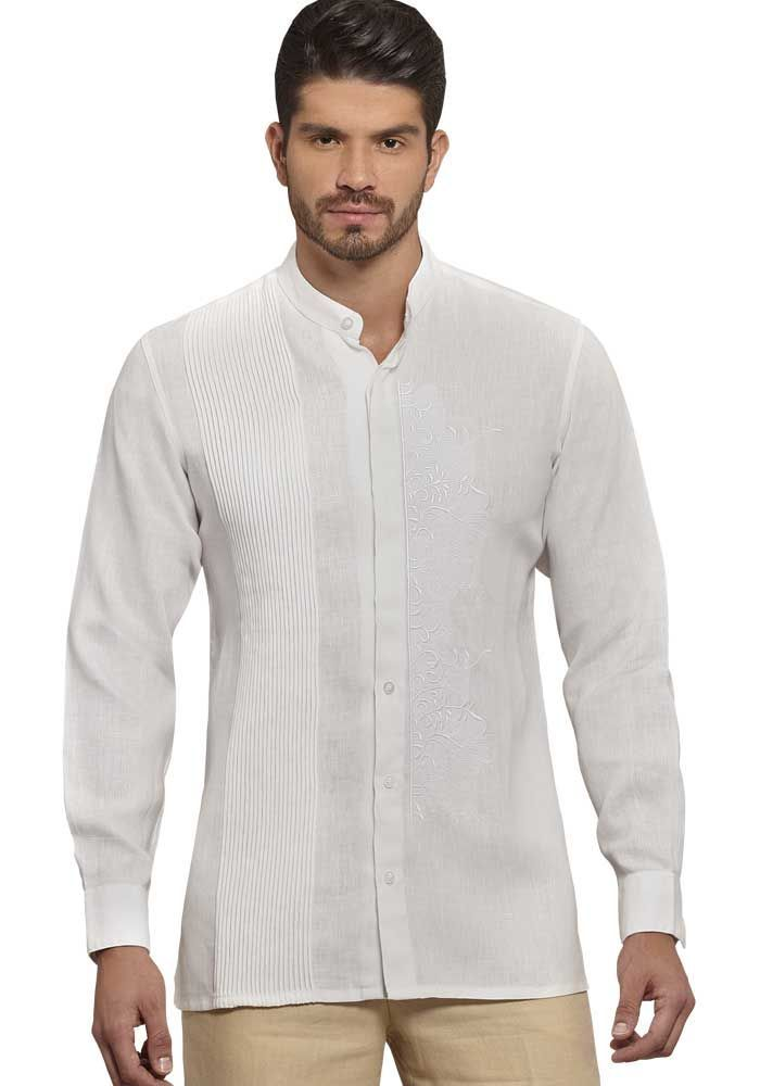 05f358f756 Chinese Collar Shirt. Wedding Style. Collar - MAO. Hidden Button. Italian  Premium 100 % Linen. White Color.