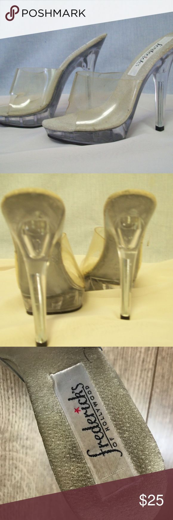 "VTG Fredericks of Hollywood clear platform heels Adorable, sexy (and small!), by Frederick's of Hollywood.  5"" heel with a 1"" platform.  All clear plastic.  Sandals with an open back and open vintage Fredericks of Hollywood Frederick's of Hollywood Shoes Platforms"