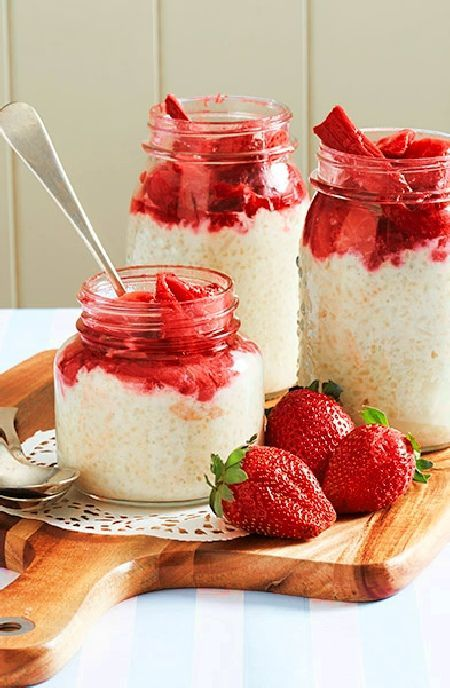 Low FODMAP Recipe and Gluten Free Recipe - Rice pudding with strawberries    http://www.ibs-health.com/low_fodmap_rice_pudding_strawberries.html