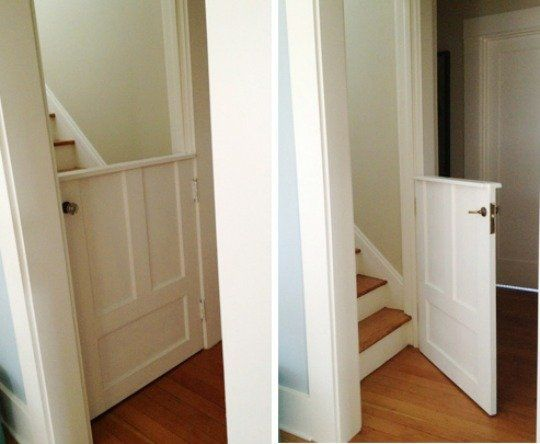 Alternative to Baby Gates:  Half Doors     Kelly Rae Roberts---put these or half pocket doors in the house to keep dogs from certain areas.