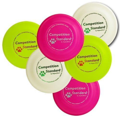Hyperflite K-10 Competition Standard Dog Disc 6 Pack by Hyperflite. $27.50. Patented aerodynamic features make the Competition Standard the best-flying canine competiton disc ever made. A K-10 Competition Standard disc was used to set the light plastic world canine distance record of more than 104 yards in Niigata, Japan on November 5, 2001. 100 grams. The Competition Standard is the official competition flying disc of the Hyperflite Skyhoundz World Canine Disc Champioship Series...