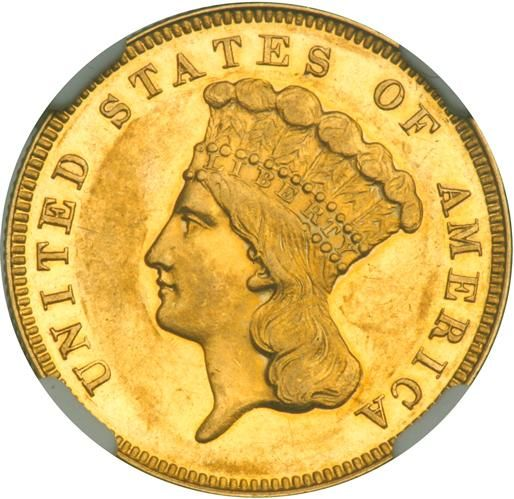 """1867 $3 Gold. NGC PF60 Lightly toned. Only 50 minted. The elusive 1867 Three-Dollar gold piece has a limited mintage in both business strike and Proof formats. Federal records report that just 2,600 pieces were delivered for circulation, alongside only 50 specimens for sale to collectors. Survivors of the latter delivery are believed to number no more than 20 pieces, at least three of which are impaired per current PCGS and NGC population data. Every bit the original look, this naturally toned Proof is awash in orange-gold shades that retain the mirror-finish fields when turned away from a light. The devices stand out with not only a well-contrasted satin texture, but also pleasingly sharp striking detail. Only a few handling marks are seen. . Historic Account: The $3 denomination was designed by James B. Longacre, who became chief engraver at the Mint in 1844, after the death of Christian Gobrecht. The obverse features the head of Liberty decked out as an Indian princess, facing left, wearing a decorative feathered headdress upon which is a band inscribed LIBERTY. The inscription UNITED STATES OF AMERICA surrounds. (The same motif was later used on the Type III gold dollar 1856-1889.) The reverse displays an """"agricultural wreath"""" enclosing 3 DOLLARS and the date. The reverse wreath was later used on the Flying Eagle cents of 1856-1858. As is demonstrated, Longacre often replicated his own work. The $3 design was continued without major change from beginning to the end, except that issues of the year 1854 alone have the word DOLLARS in smaller letters than do the pieces from 1855 to 1889. A trickle of Proofs were issued to collectors beginning in 1858. Between 1879 and 1889, the number of Proofs sold increased somewhat due to speculative interest at the time. Estimated Value $8,000 - 9,000. #Coins #Gold #US$3.00 #MADonC"""