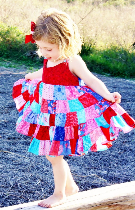 What an adorable dress! This shop has so many cute little girls clothes!   Red Rapture Patchwork Twirl Dress by FairytaleNonsense on Etsy, $62.00