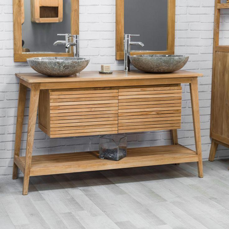 Meuble double vasque en bois de teck massif, au look scandinave par excellence. Très pratique, ce meuble sous vasque dispose de 2 portes et d'un plateau inférieur, vous permettant le rangement avec facilité. Pour une salle de bain harmonieuse, laisser-vous tenter par la colonne Nordique. Le meuble est livré assemblé. Dimensions meuble Longueur : 140 cm Hauteur : 80 cm Profondeur : 50 cm Dimensions plateau Longueur : 130 cm Profondeur : 50 cm