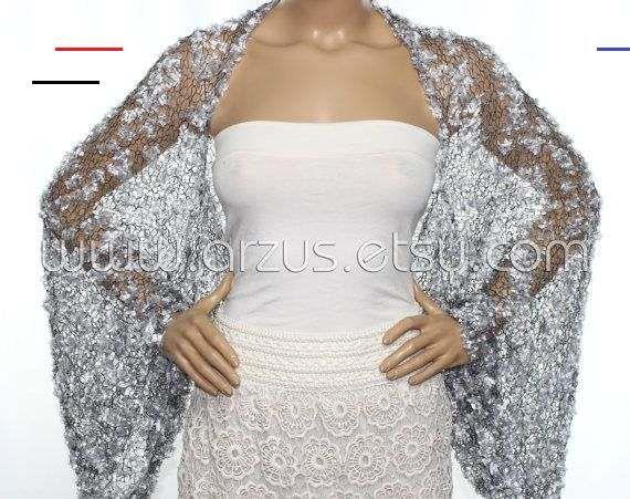 Wedding Shrug Knit Silver Shrug Cover Ups Shawls Wraps Long Sleeve Evening Shrug Weddings Bridal Accessories Shrugs Boleros Brid In 2020 Brautjungfern Abendkleid Braut