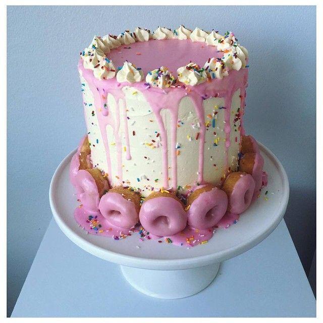 I  Birthday Cake!! #donut #birthday #birthdaycake #cake #yum #food #pretty #pinkdonut #aprettylittlelifeblog