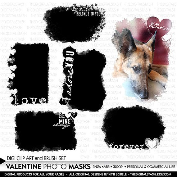 This item is for the Valentine Photo Clipping Masks with Words - 6 Artsy Stamps and Brushes - INSTANT DOWNLOAD - for Journaling, Crafts, Collage,