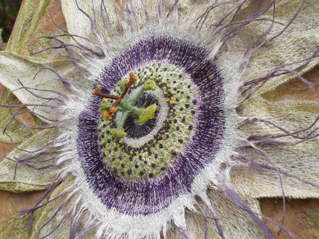 Textile Art, 3d Embroidery, textile sculpture, stumpwork, Passion Flower, by Corinne Young