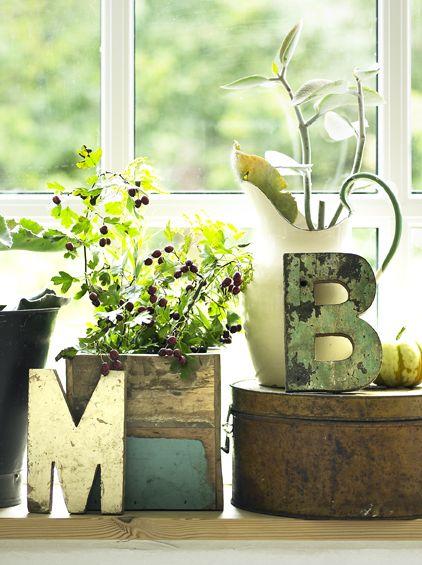 www.gardsromantik.se - Handgjorda träbokstäver bokstav återvunnet trä unika industristil shabby chic lantlig stil