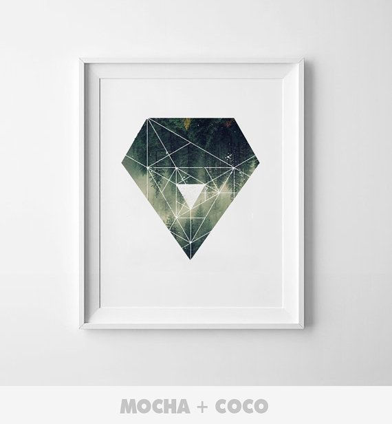 Geometric Polygon Forest Art Poster, Office Wall Art, Startup Minimal Decoration, Printable Mocha + Coco, Intstant PRINT FILE DOWNLOAD