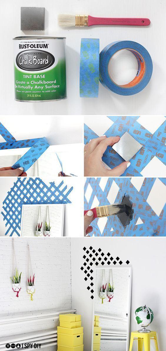 Faça um pequeno detalhe na decoração da #parede da sua #casa! Você só precisa de fita crepe, pincel, tinta e #criatividade! #decoração #design #madeiramadeira