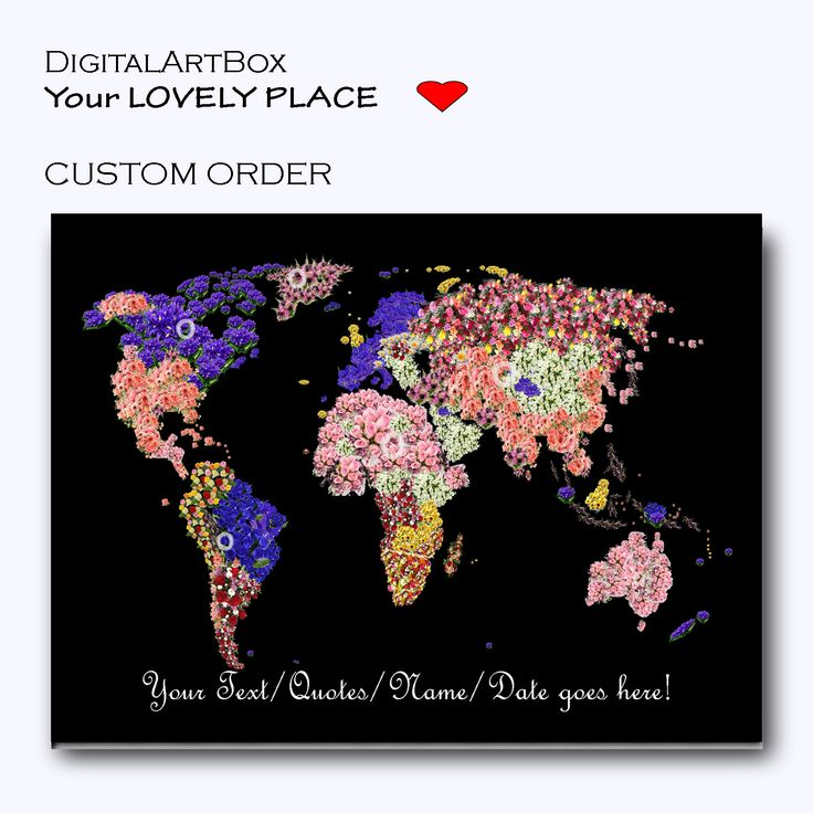 Personalized World Map with Flowers Custom Text Wedding Anniversary Travel Lover Gift Custom Map by DigitalArtBox on Etsy
