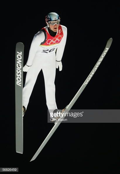 Alan Alborn of the United States of America competes in the Normal Hill Individual Ski Jumping Qualifying on Day 1 of the 2006 Turin Winter Olympic...