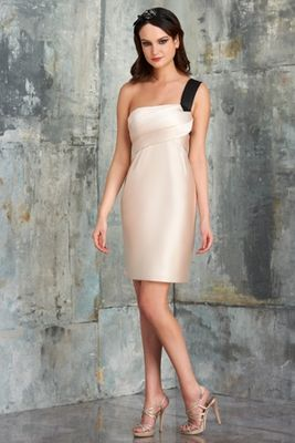 Bari Jay style 549 - Vienna Satin. One shoulder with front twist bodice, empire waist with slight gathering, short skirt. Solid or Two-tone
