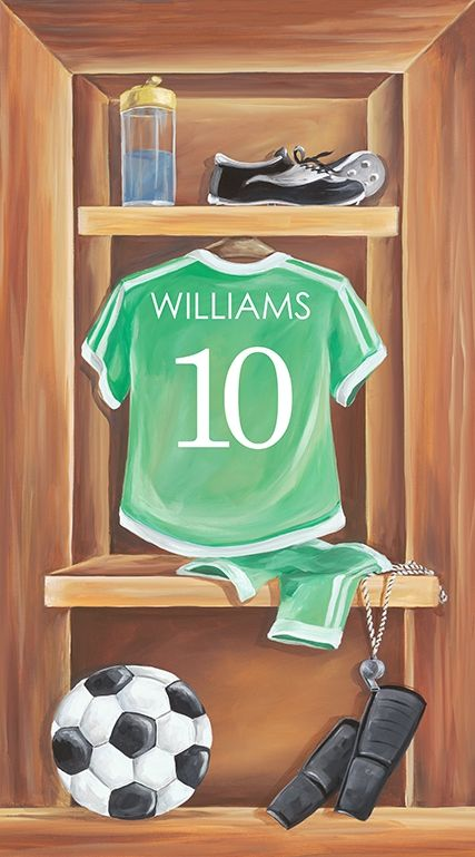 "Stocked up with all the essentials for the big game, ""Vintage Soccer Locker"" custom canvas wall art scores big with parents and players alike! Exclusive design from Dish and Spoon Productions"