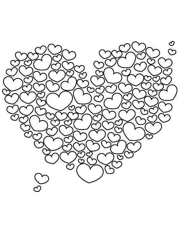 Valentine's Day, : A Giant Heart-Shaped Cloud on Valentine's Day Coloring Page