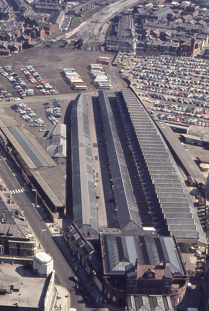 Photographed from Blackpool Tower on May 28 1966. This is the old Lancashire and Yorkshire station which had 14 platforms.