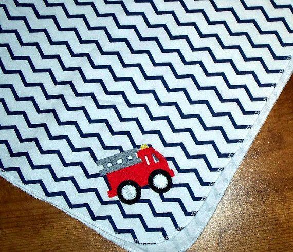 Baby Boy Blanket / Fire Truck / Personalized