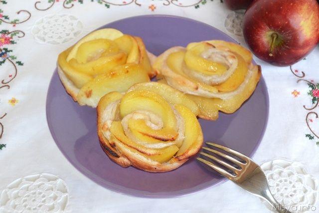 » Rose di mele e pasta sfoglia Ricette di Misya - Ricetta Rose di mele e pasta sfoglia di Misya