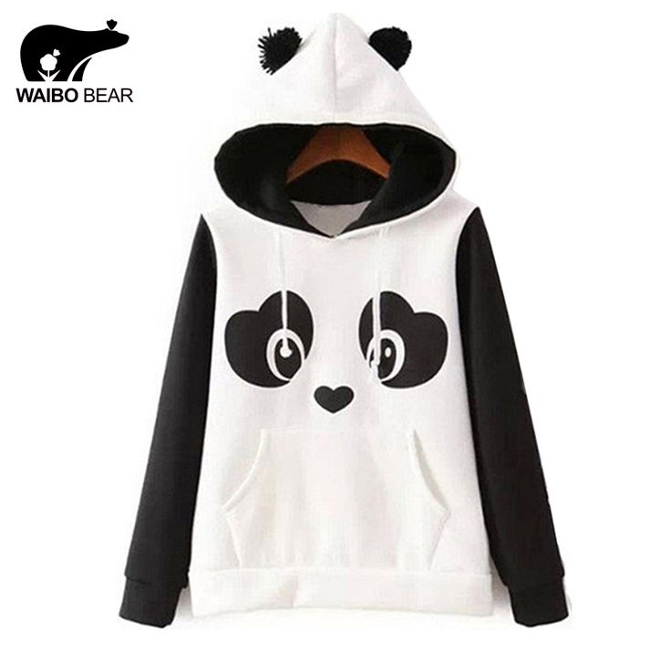 Women 2017 Winter Warm Harajuku Cartoon Panda Animal Print Thick Sweatshirt Fashion Patchwork Outside Hoodies WAIBO BEAR