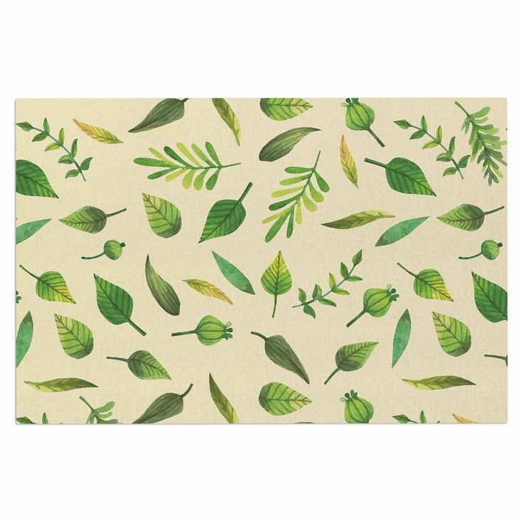 "KESS Original ""I Be-Leaf In You"" Beige Green Decorative Door Mat"