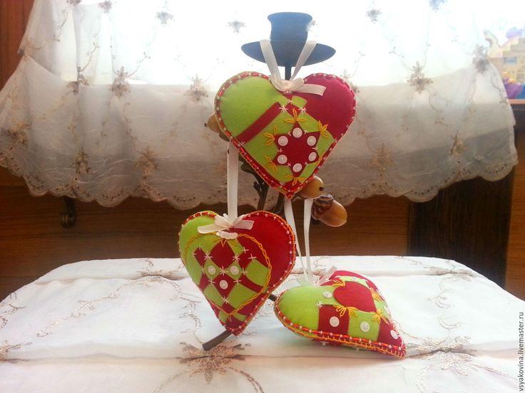 Купить Сердца из фетра интерьерные украшения - бордовый, сердце, сердечко, сердечки, сердце в подарок