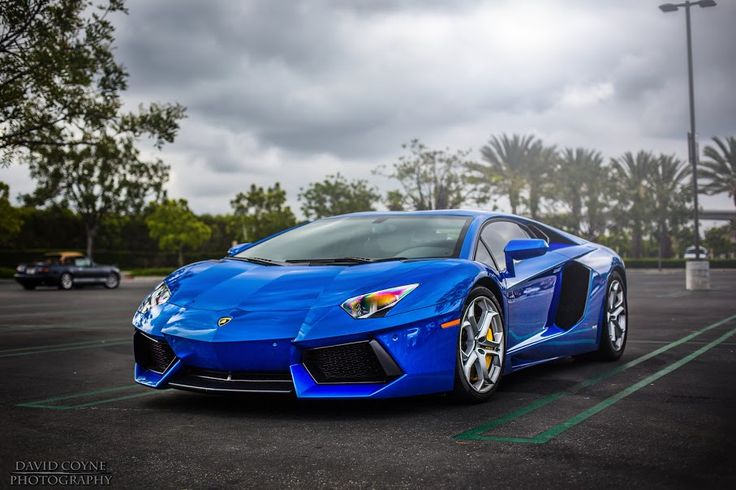 Bright Blue Lamborghini Aventador