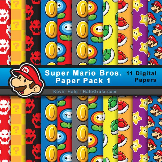 FREE Super Mario Bros Digital Pacote Papel