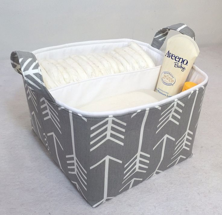 "LG Diaper Caddy 10""x10""x7"" Fabric Storage Bin, Fabric Organizer White Arrow on Grey and Solid White Lining by Creat4usKids on Etsy https://www.etsy.com/listing/221875333/lg-diaper-caddy-10x10x7-fabric-storage"